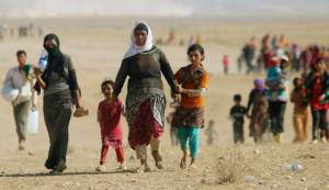 Displaced people from the minority Yazidi sect, fleeing violence from forces loyal to ISIS.  Photo: Haaretz.com