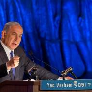 PM Netanyahu speaks at at the Yad Vashem. (Yonatan Sindel/Flash90)
