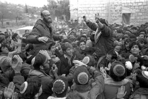 Rabbi Levinger (L) in 1975 after government permission was granted to establish a Jewish settlement in Hebron. (Moshe Milner/GPO)
