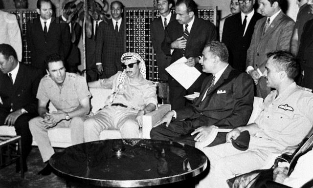 Muammar Gaddafi, Yasser Arafat, Gamal Abdel Nasser and King Hussein I in 1970. Photo: imgur.com (labeled for reuse)